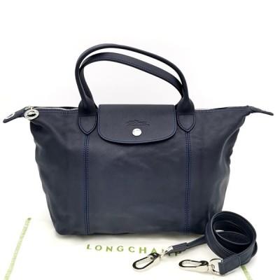 送料無料 ロンシャン LONGCHAMP ハンドバッグ トートバッグ ショルダーバッグ 鞄 2WAY レザー 本革 紺 ネイビー系 レディース
