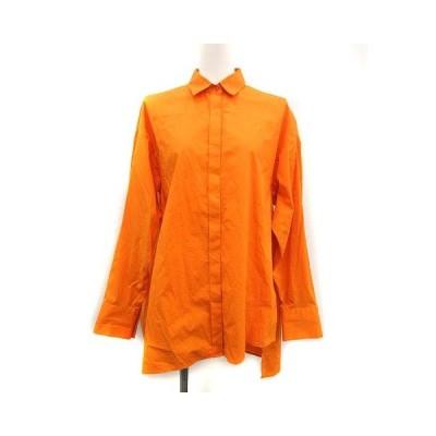 【中古】エンフォルド ENFOLD 20SS シャツ ブラウス SOMEOLS Big ポケット 長袖 38 M オレンジ /KH レディース 【ベクトル 古着】