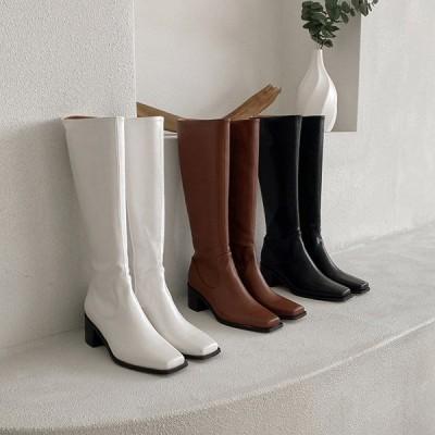 ロングブーツ ミドルブーツ サイドジップ スクエアトゥ ミドルヒール チャンキーヒール 太ヒール レディース 黒 茶色 白 ブラック ブラウン ホワイト 靴 婦人靴