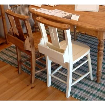 可愛いフレンチカントリー風のパイン材のチャーチチェアー 食卓イス ホワイト色