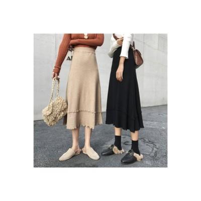 【送料無料】裾 秋 年 レディース 韓国風 ニットスカート 着やせ ウエストマーク 中長 | 364331_A63571-0695082
