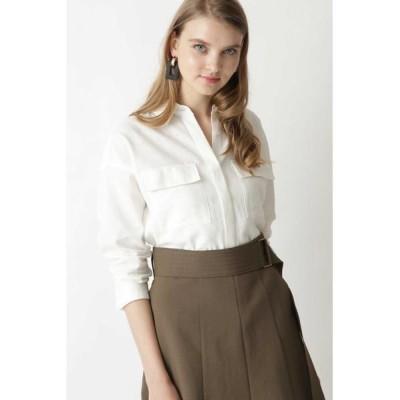 PINKY & DIANNE/ピンキーアンドダイアン ◆麻調合繊ダブルポケットシャツ ホワイト 38