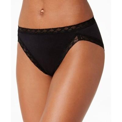 ナトリ Natori レディース ショーツのみ インナー・下着 Bliss French-Cut Lace-Trim Cotton Brief 152058 Black