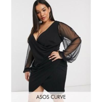 エイソス レディース ワンピース トップス ASOS DESIGN Curve balloon sleeve dobby mesh wrap plunge mini dress in black Black