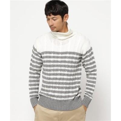 ニット VIBGYOR Select/総ケーブル編みボーダータートルネックセーター