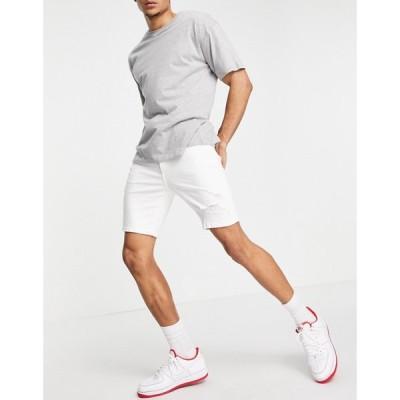 ベルシュカ Bershka メンズ ショートパンツ デニム スキニー ボトムス・パンツ Skinny Denim Shorts In White ホワイト