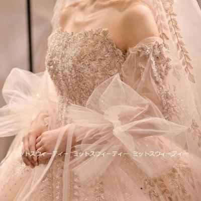 ウエディングドレス 3way ロングドレス 二次会 プリンセスラインドレス 華やか 花嫁 結婚式 ウェディグドレス ゴージャス 前撮り トレーン ビスチェ ボレロ
