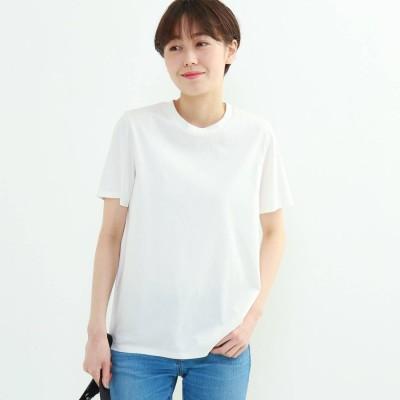 インディヴィ INDIVI クルーネックスムースTシャツ (ホワイト)
