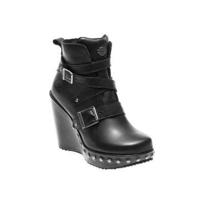ブーツ ハーレーダビッドソン Harley-Davidson Women's Linley 4-Inch Black Fashion Wedge Booties D84107