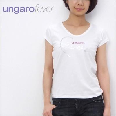【在庫一掃セール】 訳あり2 ウンガロ フィーバー ungaro fever Vネック Tシャツ ホワイト 42サイズ (29832M 100 WH)