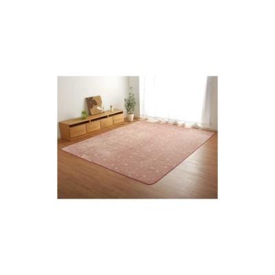 ホットカーペット対応 フランネルラグ ウサギ柄 3畳 約200×250cm ピンク 9845027