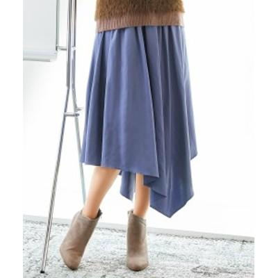 スカート ひざ丈 大きいサイズ レディース アシメフレア  スモーキーブルー/ダークブラウン L/LL/3L ニッセン