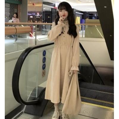 韓国 ファッション レディース ワンピース ロング コーデュロイ ハイウエスト フリル フレア 長袖 ゆったり カジュアル 大人可愛い 秋冬