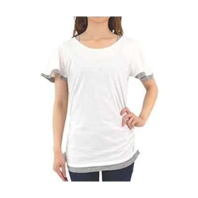 [プチハピ] 重ね着 風 やわらか コットン 綿 100% 楽ちん 素材 Tシャツ カットソー 半袖 レイヤード レディース 女性
