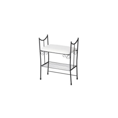 ds-1812930 エントランスハイチェア/玄関椅子 【幅48cm】 スチール製 張地:合成皮革(合皮) 座面下収納付ブラック