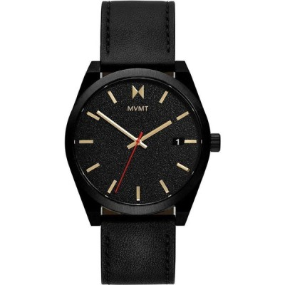 MVMT メンズ 腕時計 Caviar Black Leather Strap Watch 43mm Black