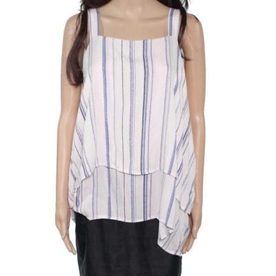 レディース 衣類 トップス Women's Blouse Blue Medium Striped Layered Look M ブラウス&シャツ