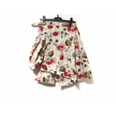 マルニ MARNI 巻きスカート サイズ38 S レディース 美品 - アイボリー×マルチ ひざ丈/花柄【中古】20201020
