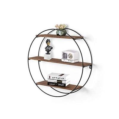 Joveco Wall Shelf Round Floating Shelves Sturdy Wood Metal Decorative Shelf好評販売中
