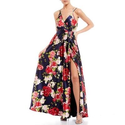 シークインハーツ レディース ワンピース トップス Surplice Side Slit Floral Print Satin Long Dress