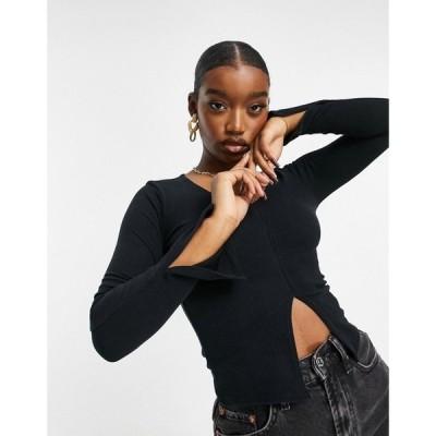ファッションキラー Fashionkilla レディース トップス Vネック rib v neck top in black ブラック