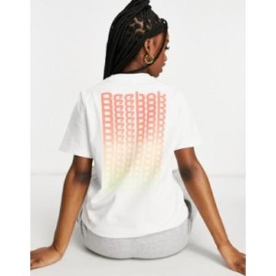リーボック レディース シャツ トップス Reebok small central logo t-shirt in white White