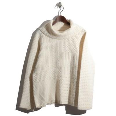 LIZ claiborne 模様編みニットオフタートルネックセーター(オフホワイト)