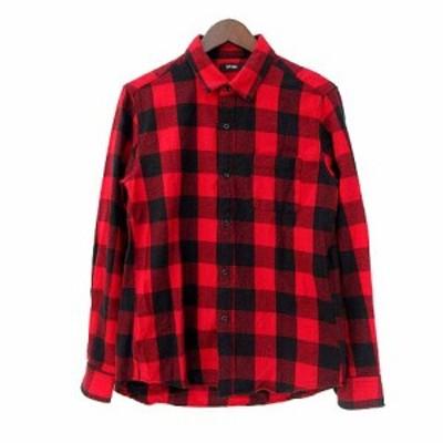 【中古】スピンズ SPINNS ネル シャツ M 赤 レッド コットン 長袖 チェック メンズ