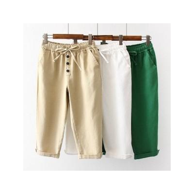 夏服 ゆったり 哈倫 ハイウエスト 七分丈パンツ レディースファッション KCZJ065 4500
