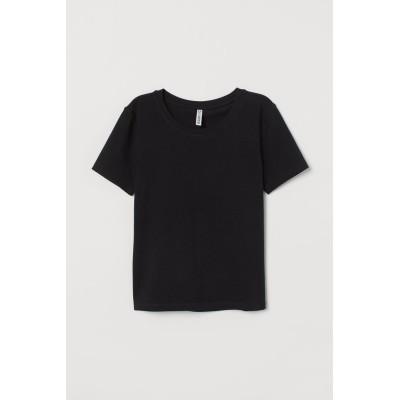 H&M - コットンジャージートップス - ブラック