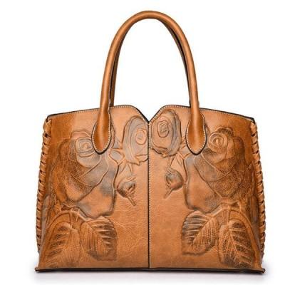 女性レトロPUレザーハンドバッグエンボス牡丹中国風大容量クロスボディバッグ