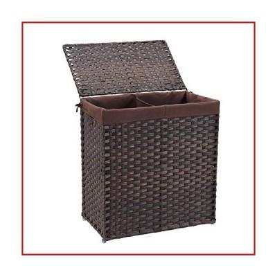 【新品未使用】Mxfurhawa Divided Laundry Basket Foldable Rattan Laundry Hamper, with Removable Washable Liner Bag, lid and Handles, Po