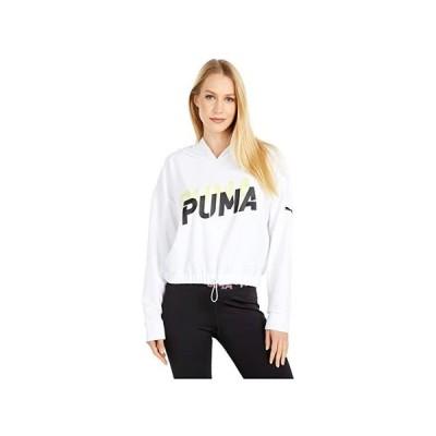 プーマ Modern Sports Hoodie レディース パーカー スウェット フード Puma White/Sunny Lime