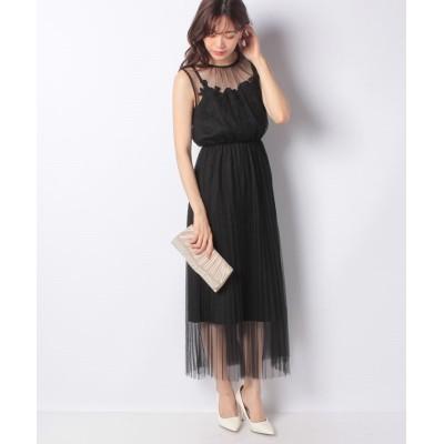 (INTERPLANET/インタープラネット)チュールプリーツ刺繍モチーフ付ドレス/レディース ブラック