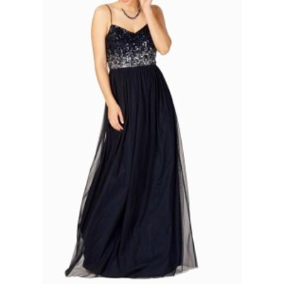 Adrianna Papell アドリアーナ パペル ファッション ドレス Adrianna Papell NEW Blue Midnight Sequin Tulle 10 Maxi Gown Dress