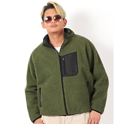 【ラグスタイル】 防風ボアジャケット/ボア ジャケット メンズ スタンドジャケット シープボア メンズ カーキ M LUXSTYLE