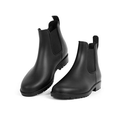 [Hellozebra] サイドゴアブーツ レディースレインシューズ レインブーツ ラバー ショートブーツ 長靴 婦人靴 高級PVCおしゃれ 軽量、快