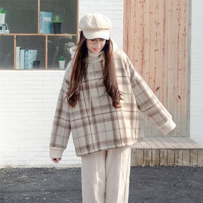 【初秋のん太限定価格✨】フェイク2個セットの格子縞の縫付 高襟 プラスベルベットの厚いセーター 女子 学生 INSファッション緩い冬のコートの女性のシャツの潮