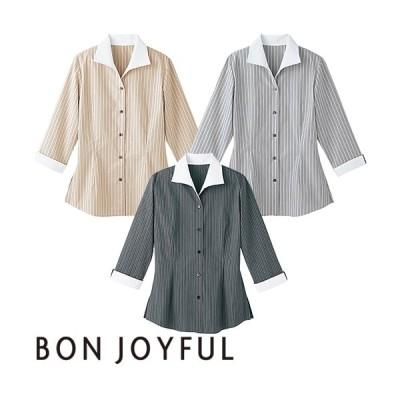 ボンユニ BONUNI 七分袖イタリアンカラーシャツ 24203-71、24203-92、24203-98