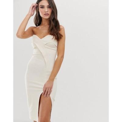 ベスパー ミディドレス レディース Vesper bandeau midi dress with thigh split in stone エイソス ASOS ベージュ