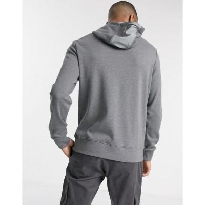 カルバンクライン メンズ パーカー・スウェットシャツ アウター Calvin Klein woven blocked quarter zip hooded sweat in gray Medium gray htr comb
