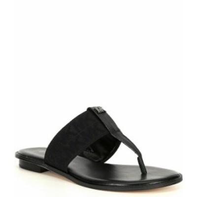 マイケルコース レディース サンダル シューズ MICHAEL Michael Kors Verity MK Logo Printed Elastic Thong Sandals Black