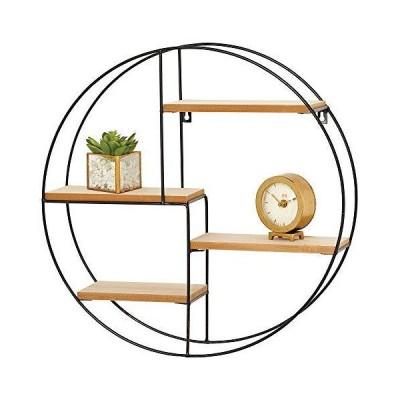 mDesign 円形メタル壁掛けディスプレイオーガナイザーホルダー 4棚  小さな収集品 置物 マグカップ 多肉植物の保管や展示に  ブラック/ナチュ