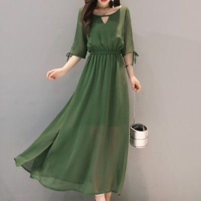 ドレス ワンピース 半袖ロングワンピース 袖ありロングドレス ドレス ロング ワンピース マキシ 赤ドレス 黒ドレス ワンピース カーキ 緑