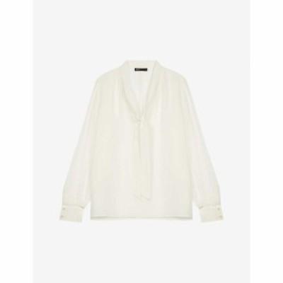 マージュ MAJE レディース ブラウス・シャツ トップス Loie pussy-bow silk blouse WHITE