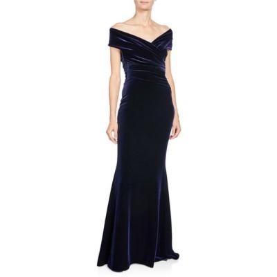 タルボールホフ レディース ワンピース トップス Stretch-Velvet Off-Shoulder Short-Sleeve Mermaid Gown