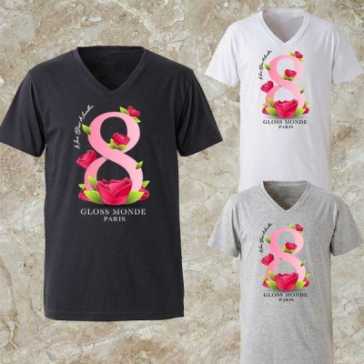 Tシャツ メンズ Vネック パロディ ブランド 半袖 ロゴ  ピンク フラワー 8
