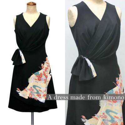 2106一点物の正絹留袖のドレス【着物ドレス 着物リメイク 和ドレス パーティードレス ステージ衣裳 ワンピース 正絹 日本製 送料無料 9号】