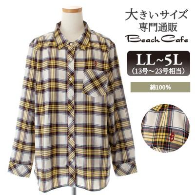 大きいサイズ レディース トップス 綿100% チェック ネルシャツ 長袖 シャツ ブラウス 秋冬(3L)