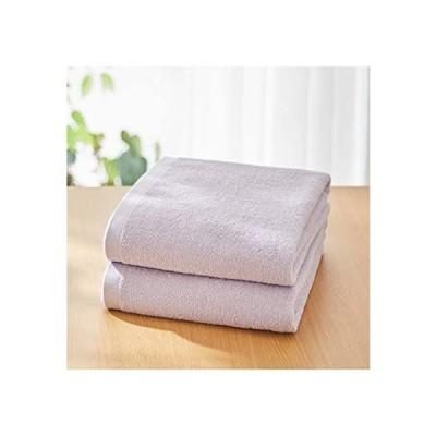 [nissen(ニッセン)] バスタオル 大判 超薄手 薄手 同色 2枚セット 綿100% 乾きやすい 無地 シンプル ベーシック ラベンダ